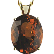 14kt Yellow Gold Pendant / Necklace With Oval Madeira Citrine