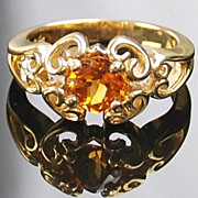 14kt Yellow Gold Ladies Ring - Square Cushion Cut  Citrine