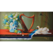 Miniature Oil Painting of Irish Harp and Swan by MacArgel