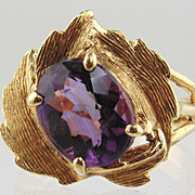 14kt Yellow Gold Ring With  Amethyst - Floral Design