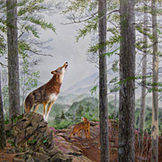 Red Wolves Original Painting by Catherine Girard
