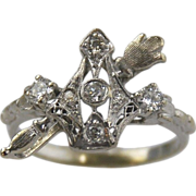 14kt White Gold Filigree Diamond Ring - Crown & Scepter