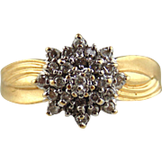 14kt Yellow Gold Ladies Snowflake Cocktail  Ring With Diamonds