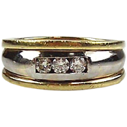 14kt Two-tone Gold Man's Ring With Three Diamonds