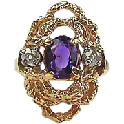 14kt Yellow Gold Ladies Freeform Ring With  Amethyst & Diamonds