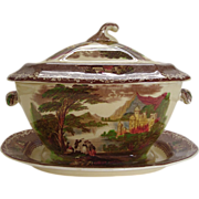 Antique Staffordshire Covered Soup Tureen with Plate
