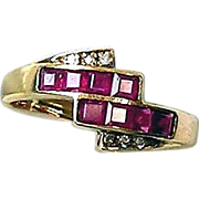 Ruby and Diamonds 14kt Yellow Gold Ring, Size 6 1/2