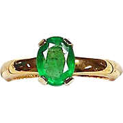 Emerald 18kt Yellow Gold Ring, Size 5 3/4