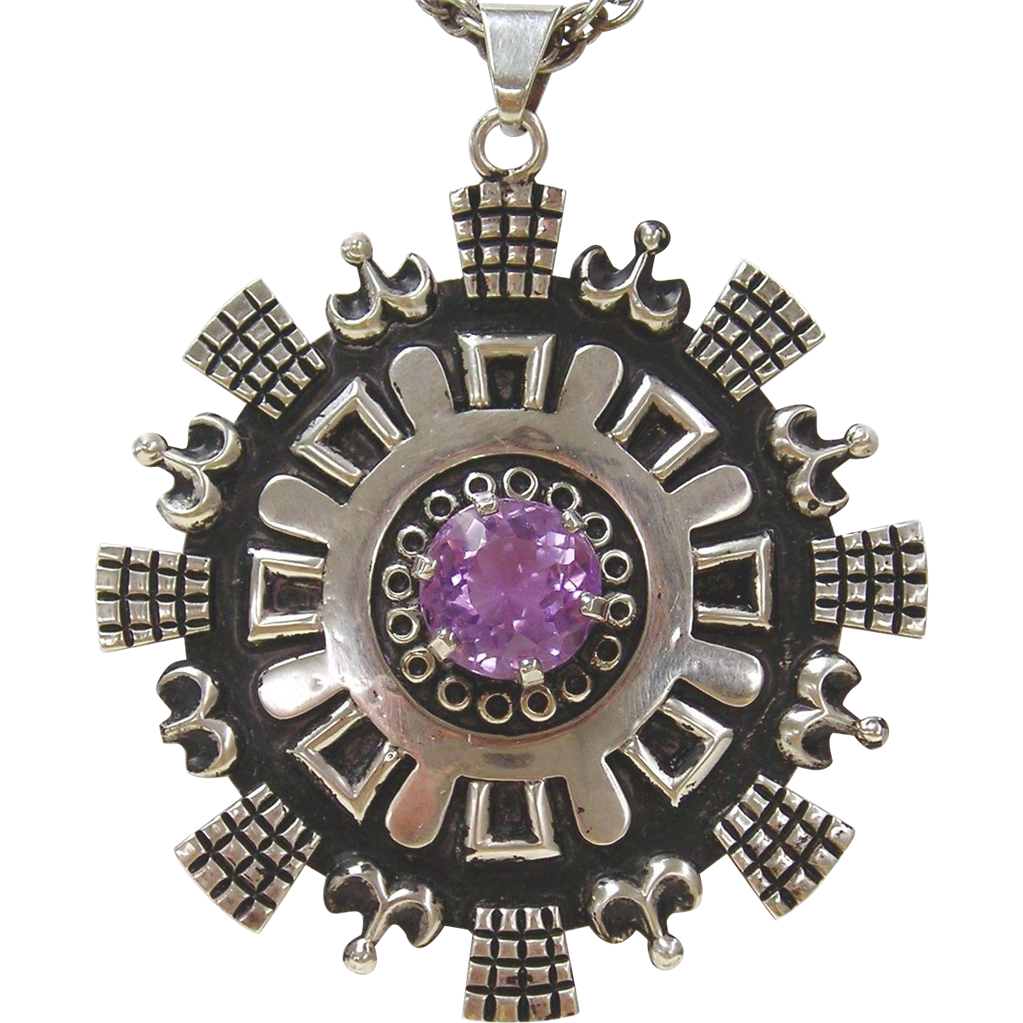 Los Ballesteros, Sterling and Amethyst Pendant  -  Sterling Chain Necklace
