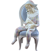 Lladro Figurine, Young Harlequin - Retired of Boy Holding a Cat