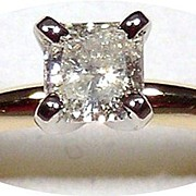 Princess Cut Diamond Solitaire Ring 14kt Gold, Size 6 1/2 to 6 3/4
