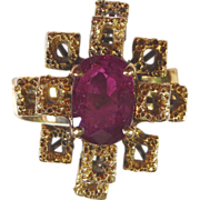 Ruby and 18kt Yellow Gold Ring, Size 7 1/2