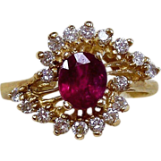 Ruby and Diamonds 14kt Yellow Gold Ring, Size 5 1/2