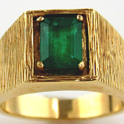 Men's Emerald 14kt Yellow Gold Ring, Size 8 1/2