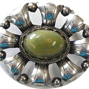 Sterling Silver Mexican Floral Pin With Green Agate Cabochon