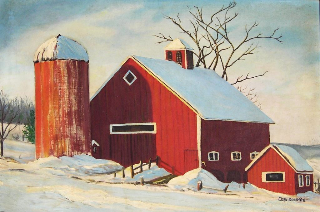 Red Barn in Winter - 20th C. American Oil Painting from ...