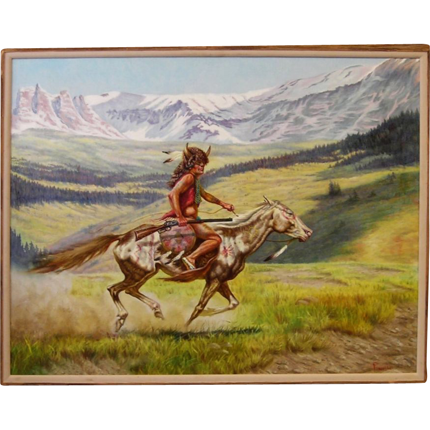 Oil Paintings of Native Americans http://www.rubylane.com/item/497632-4/Native-American-Indian-Original-Oil
