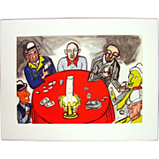 The Card Players - Color Lithograph by Alexander Calder