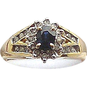 Sapphire and Diamonds 14kt Yellow Gold Ring, Size 7