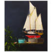 Original Oil Painting of Ship Model by Dan Dunn