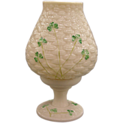 Belleek Votive Hurricane Lamp - Basketweave Pattern With Shamrocks