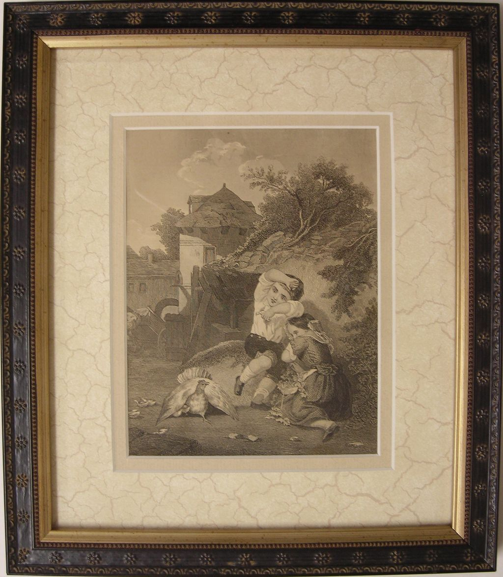 Antique Engraving  -  Children and Chicken / Hen