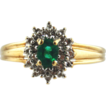 Emerald & Diamond 10k Two Tone Gold Ring, Size 7 3/4