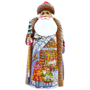 Russian Santa With Gold Highlights Hand Carved & Painted