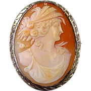 Cameo of A Grecian Style Woman - Sterling Silver - Pin / Brooch