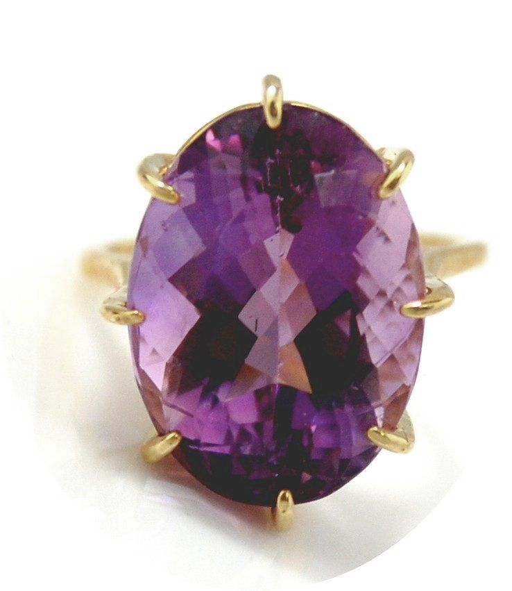 14kt Yellow Gold  Ring With Oval Amethyst 19.43cts