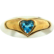 14kt Yellow Gold  Ring With Heart cut Swiss Blue Topaz, Size 4 1/4