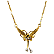 14kt Yellow Gold & Diamonds Necklace - Vintage