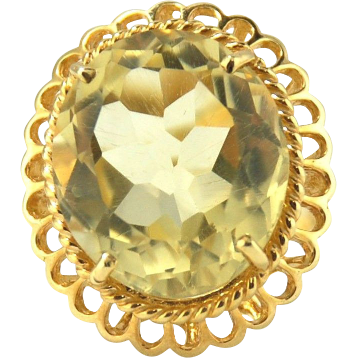 14kt Yellow Gold Ring Oval Citrine - 18.23cts, Size 6 1/4