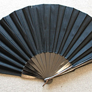 Black Fan With Satin - Vintage