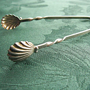 Edwardian Sterling Silver Seashell Design Sugar Tongs