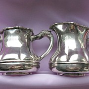 1880's Antique Quadruple Plate Sugar & Creamer With Figural Dragon Handles