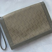 Vintage LOU TAYLOR Taupe Leather & Jacquard Clutch/Wristlet with Flip-up Mirror