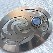 STEVE STAMAS Sterling & Fire Opal Brooch