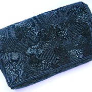 1970's Fully Beaded Geometric Pattern Black Clutch Bag