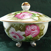 "LEFTON CHINA Hand Painted ""Heritage Green"" Footed Box"