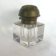 Early 1900's Beveled Glass & Brass Inkwell