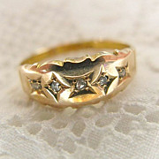 15K  Gold & Rose Cut Diamond Gypsy Band Ring
