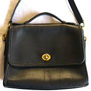 Vintage COACH U.S.A. Black Leather Court Bag