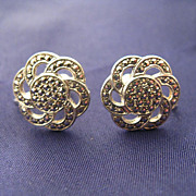 Sterling & Marcasite Screw-Back Flower Earrings