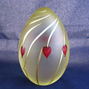 CORREIA Art Glass Signed Egg Shaped Paperweight