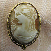 12K Gold-Filled Shell Cameo Goddess Flora Pin/Pendant