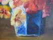 Floral Oil Painting Signed by F. Fenth � Pansy Bouquet in a Blue Chinese Porcelain Vase or Cachepot