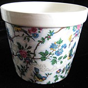 SOLD Floral Chintz Transferware Cachepot - North Staffordshire Pottery
