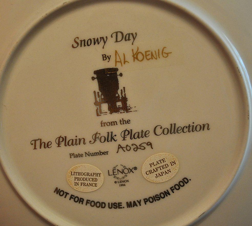 snowy day   plain folk plate