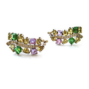 SOLD JOMAZ Earrings Purple Yellow Green Rhinestone - Vintage 1950s Mazer Huge Clip On